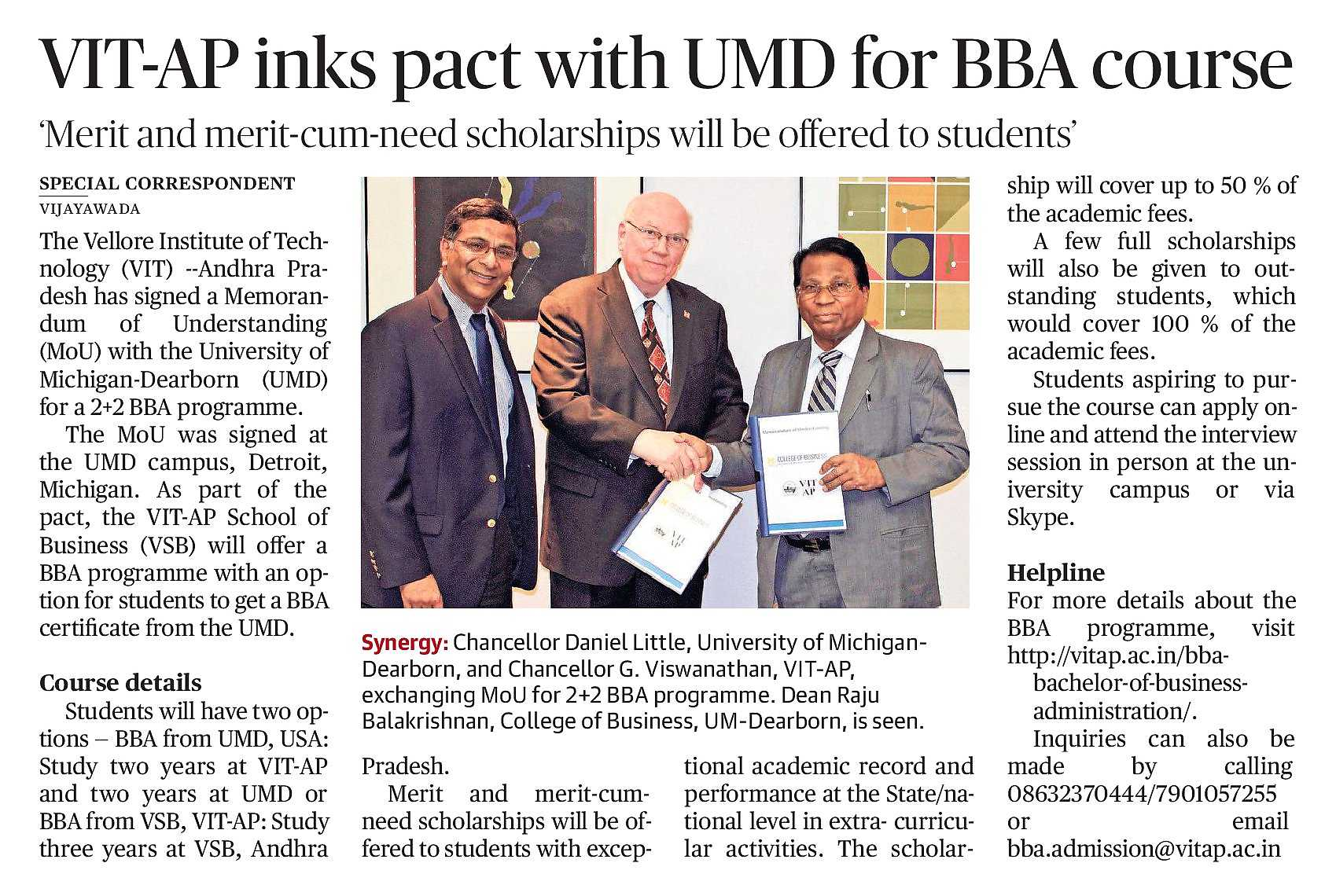 VIT-AP inks pact with UMD for BBA Course