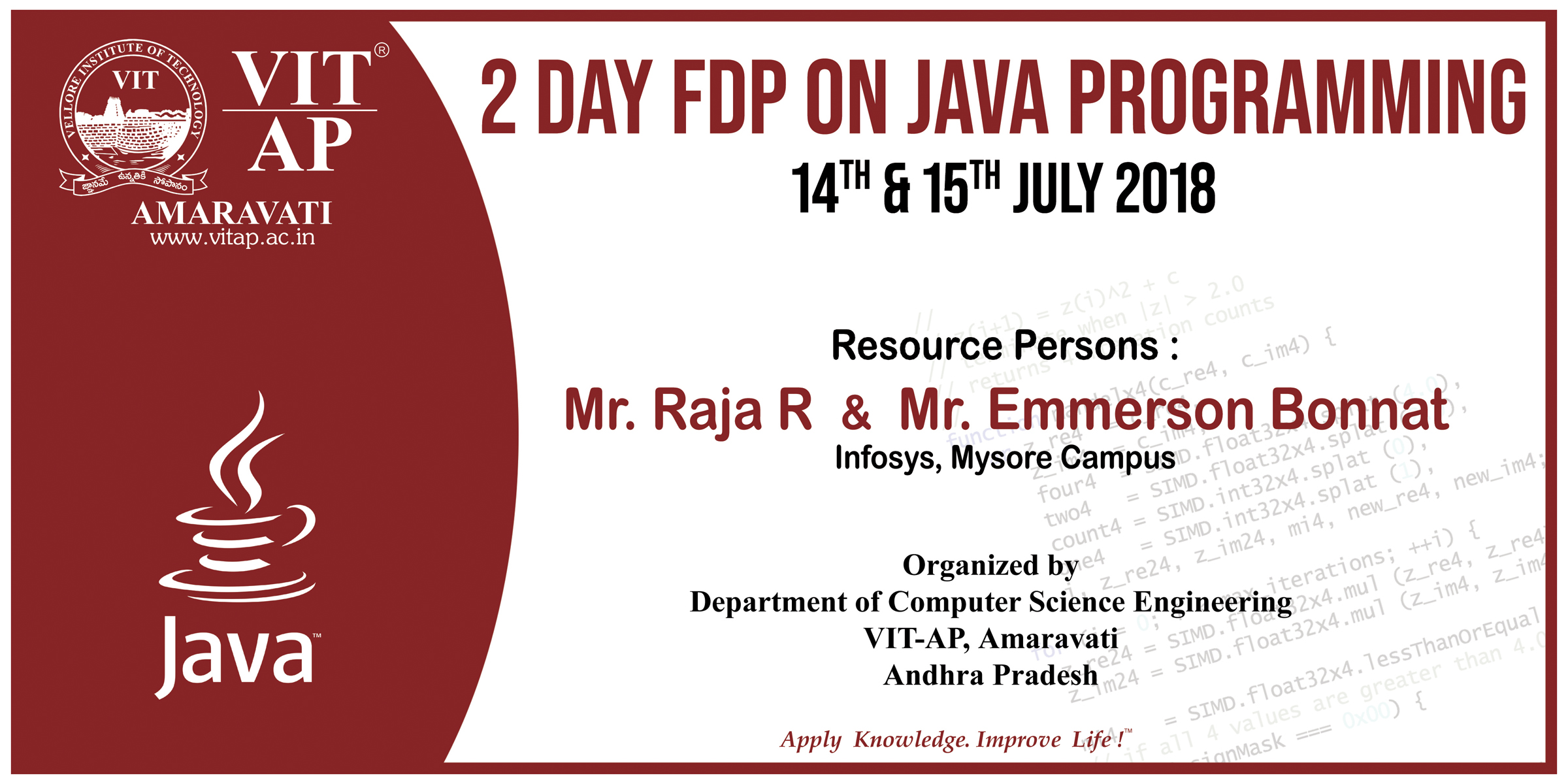 2 DAY FDP ON JAVA PROGRAMMING, 14<sup>th</sup>-15<sup>th</sup>JULY 2018