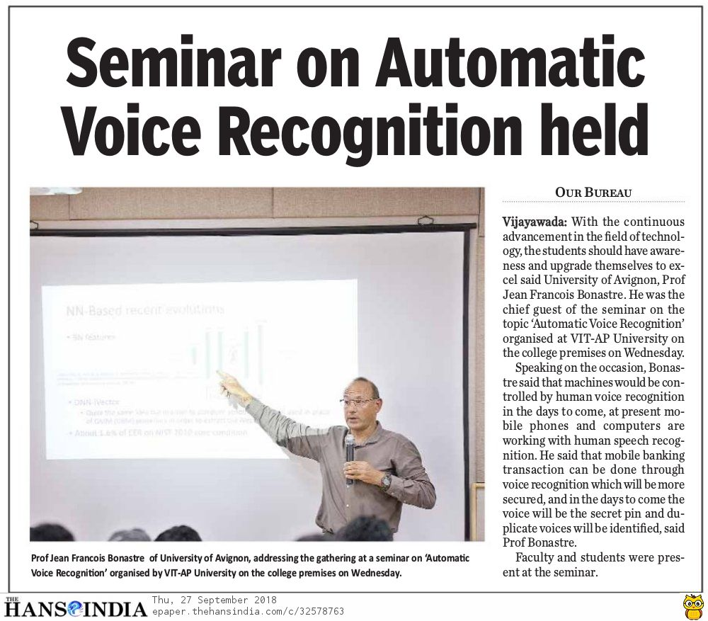 Seminar on Automatic Voice Recognition held at VIT-AP