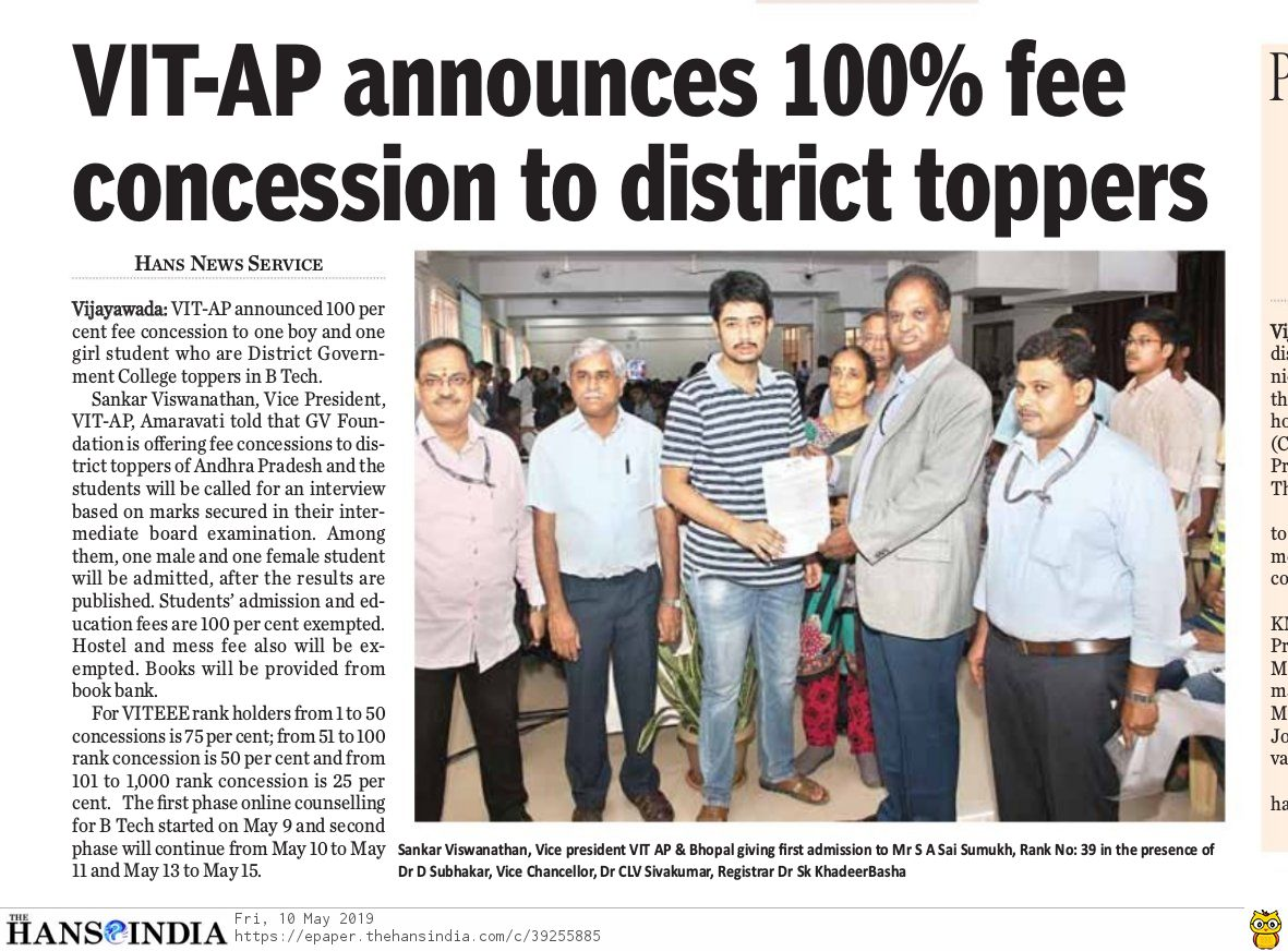 VIT-AP announces 100% fee concession to district toppers