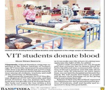 VIT-AP conducts blood donation camp