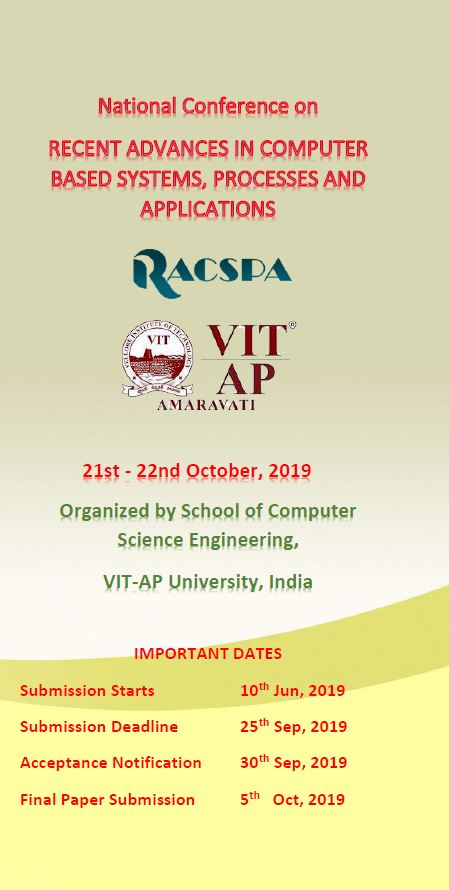 National Conference on Recent Advances in Computer Based Systems, Process and Applications