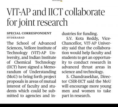 VIT-AP and IICT Collaborate for joint research