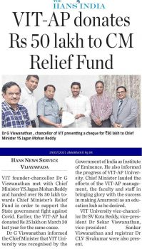 VIT-AP donates Rs 50 lakh to CM Relief Fund