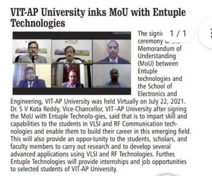 VIT-AP University inks MoU with Entuple Technologies